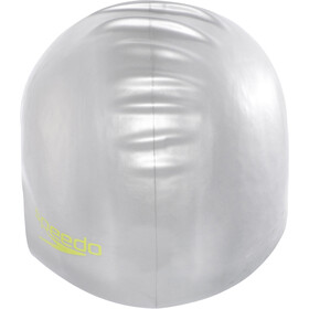 speedo Plain Moulded Silicone Cap Juniors Silver/Lime